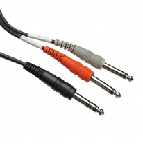Hosa STP-202 Dual 6.3mm TS - 6.3mm TRS Y-Cable 2m